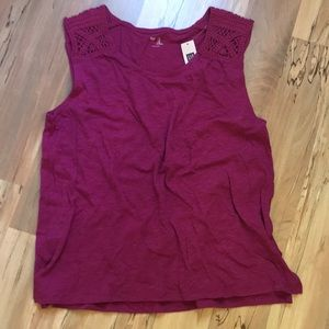 Gap top with really cool knit design on shoulders!